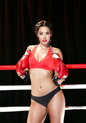 Attractive Eva Lovia with good booty takes off panties and furthermore top on the ring