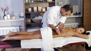 Adore on massage table is modest but gets as hot as slut under therapist's hands