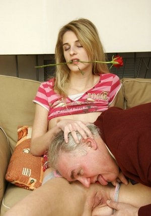 Housemaid lets romantic aged employer lick hairless pussy and saddles his dick