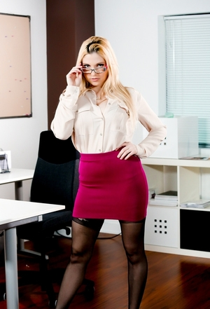 Bigtitted secretary always goes to work in super-hot outfits and seduces her boss