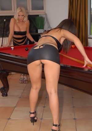 Aroused girlfriends interrupt pool game to make love right on table