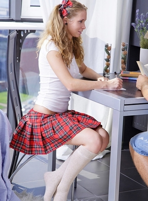 Student with sexy bows in hair and moreover a short checkered skirt drilled by classmate