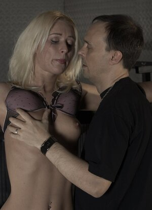 Master dominates over innocent blonde and plus even allows to taste his prick
