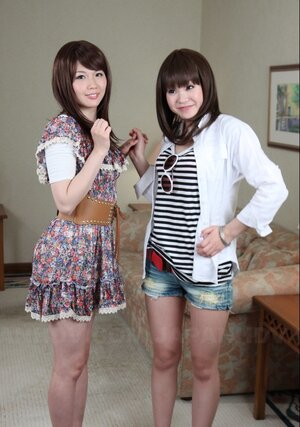 A pair of Japanese cuties Rimu Endo and Ueno Misaki unveil their small jugs only