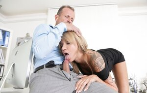 Boss lectures likable secretary who calms dude down by fellation before sex