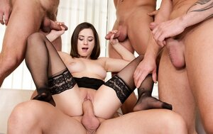 Boss and furthermore his three partners banged sexy secretary in all the holes she has