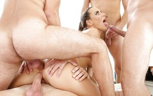 Czech trollop embarks with cocksucking then other men join for group-fuck