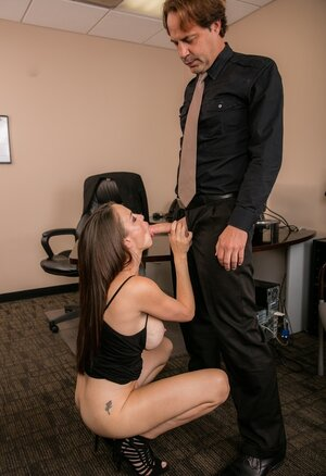 Bitch can see that boss is angry and she wants to calm him down with humping