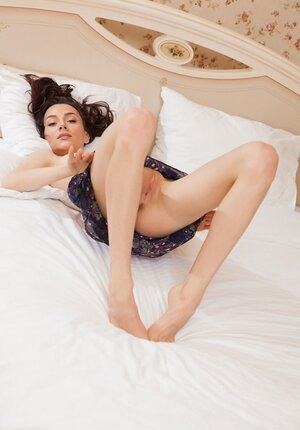 Ravishing temptress Adel Morel wakes up and besides takes off nightie on the bed