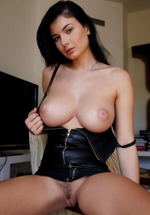 Babysitter in a black leather dress allows her sexy kittens to hang after the work