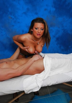 Tanned girl from a massage parlor gets horny and plus does it with client